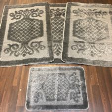 ROMANY WASHABLES GYPSY MATS 4PC SETS NON SLIP SWIRL DESIGN CHARCOAL GREY RUGS